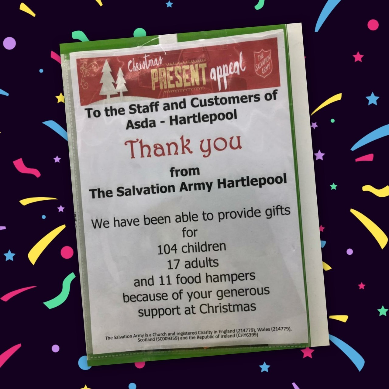 Thank you from Salvation Army | Asda Hartlepool
