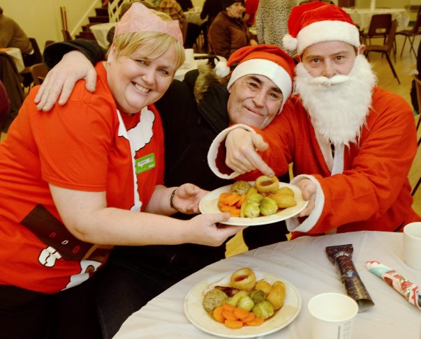 Asda Gosforth community champion Michelle with guests at Vinnie's Cafe's Christmas party