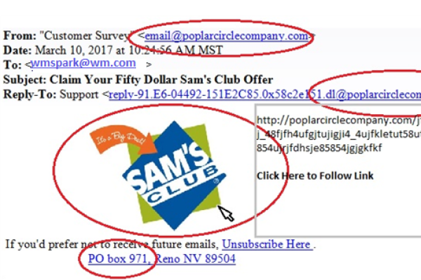 Free gifts example. Highlighted fraudulent signs, such as a non-Walmart email address in the from and reply to fields, outdated logo and PO box listed as an address.