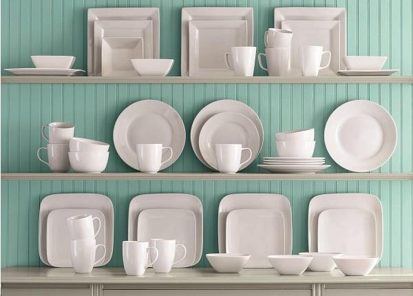 White Dishes on Shelves