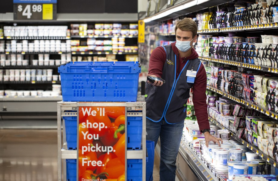 Associate with Mask Pulling Grocery Pickup Order