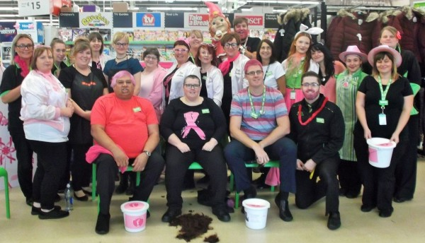Colleagues at Asda Tonypandy supporting Tickled Pink
