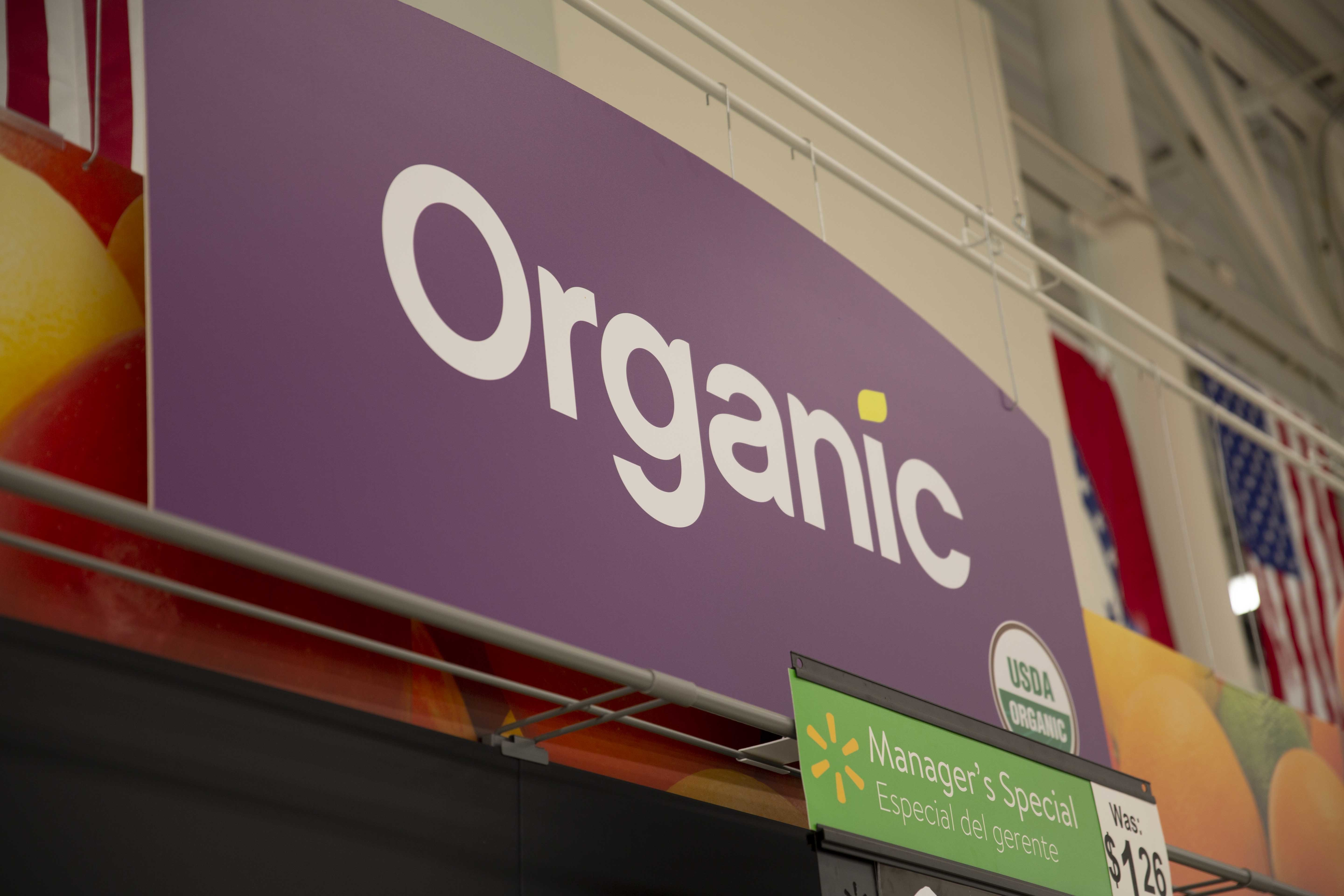 Organic signage hanging in store
