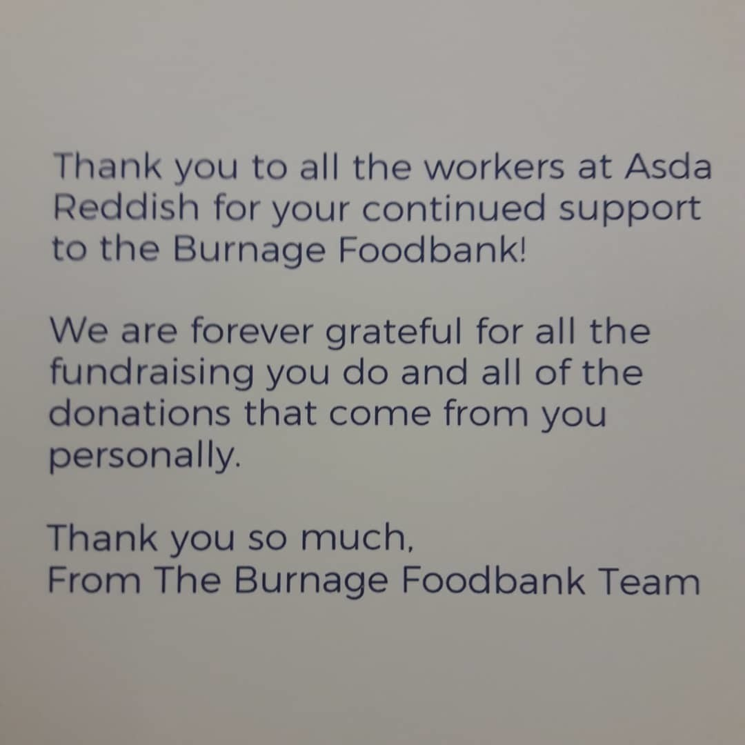 Thank you from Burnage Foodbank  | Asda Reddish
