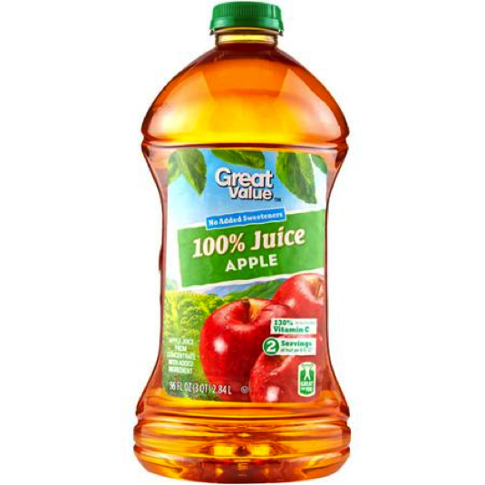 Photo of a Bottle of Great Value Apple Juice