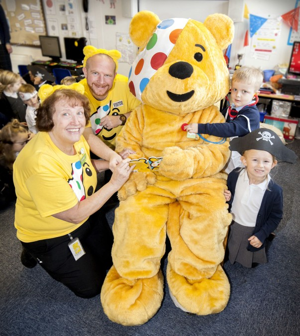 Pudsey visits Park Spring Primary School in Pudsey with Asda colleagues Sandra and Phil