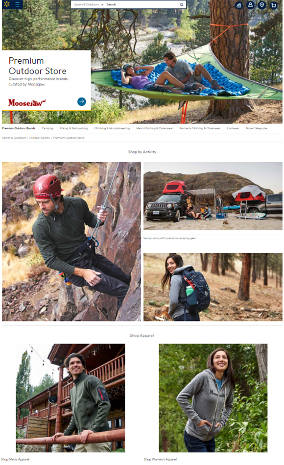 Screenshot of the Moosejaw online store