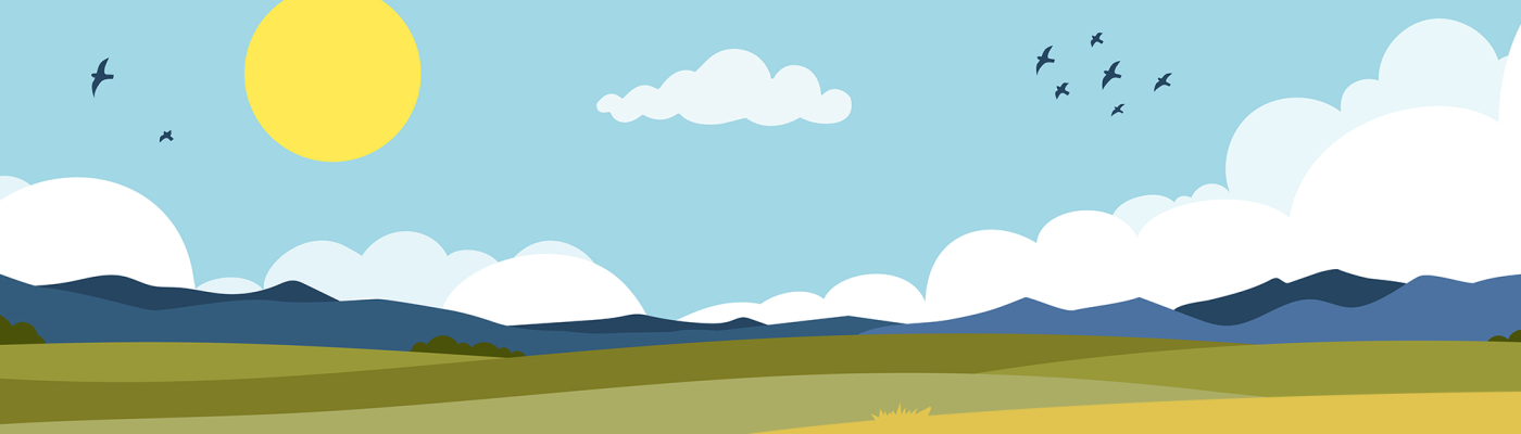 Illustration of a field, mountains, clouds, birds and the sun