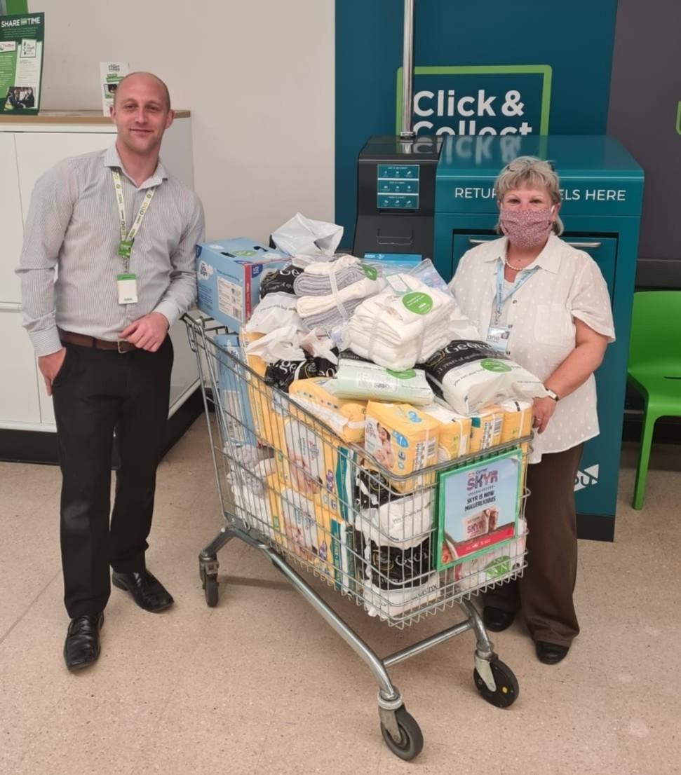Bumper baby bundle donation for Baby Basics UK | Asda Sutton in Ashfield