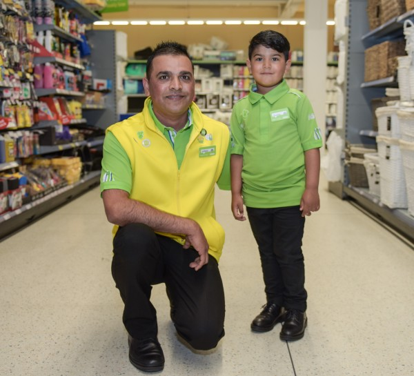 Four-year-old Huzaifah Ahmed with his dad Waqas at Asda St Matthews in Walsall