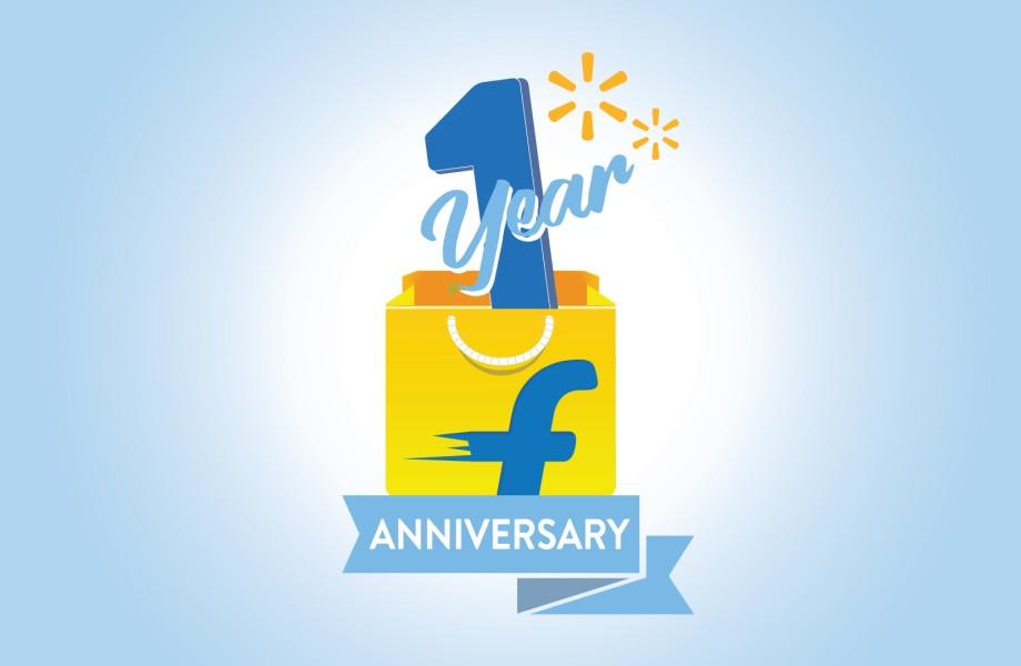 Flipkart 1 year anniversary logo