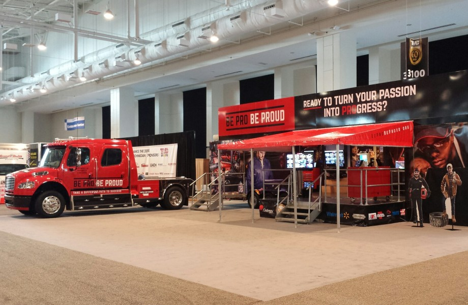 """A wide shot image of the """"Be Pro Be Proud"""" truck"""