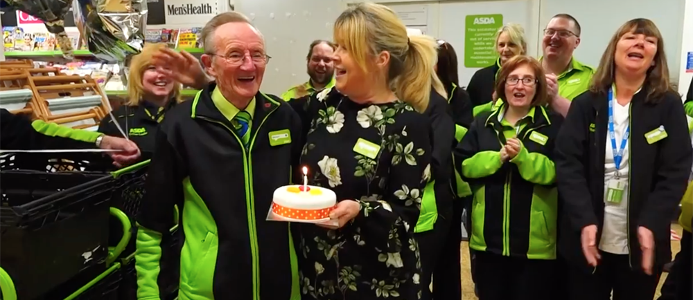 Asda Stockport colleague Bernard O'Rourke is 80