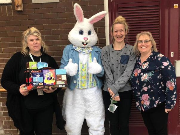 Asda Totton community champion Julie Motherwell donating Easter eggs