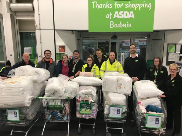 Asda Bodmin donating bedding to Callywith College students stranded by snow