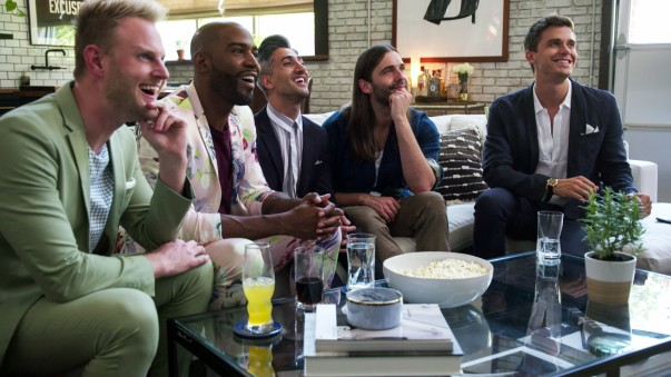 The members of Queer Eye's Fab Five smile together