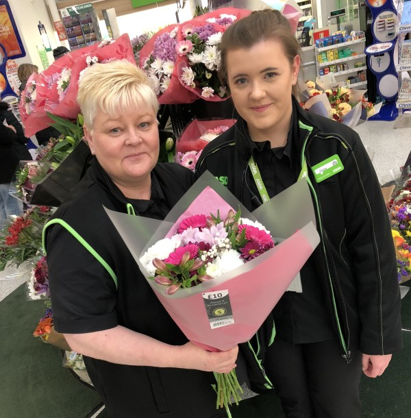 Suzanne Gibbins and daughter Claire celebrate Mother's Day at Asda Byker