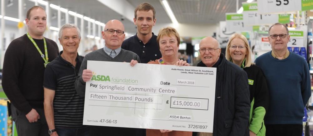 Springfield Community Association collect Asda Foundation donation at Asda Benton