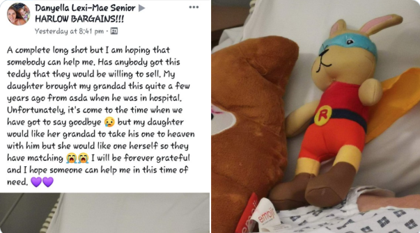 Lexi-Mae receives replacement Super Bunny from Asda Harlow colleagues