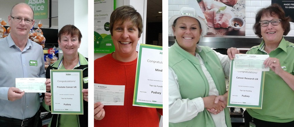 Four colleagues at Asda Pudsey have raised more than £3,000 for charities Mind, Cancer Research UK and Prostate Cancer UK