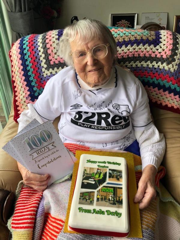 Asda Derby help customer Eunice Dring celebrate her 100th birthday