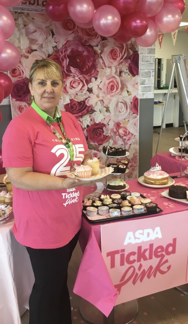 Sue Alford from Asda Longwell Green supports Tickled Pink