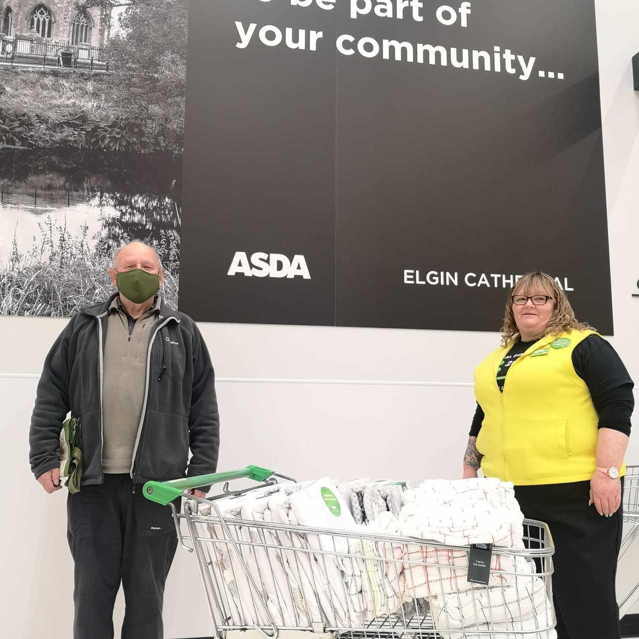Duvet and tea towel donation | Asda Elgin