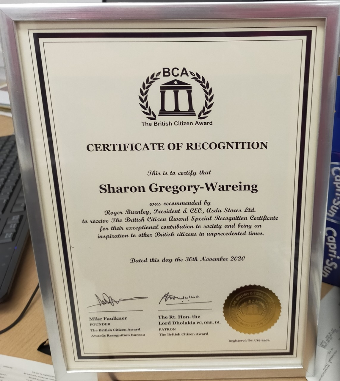Proud to receive British Citizen Award | Asda Southport