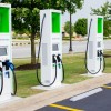 Row of EV Chargers at an EVP Station