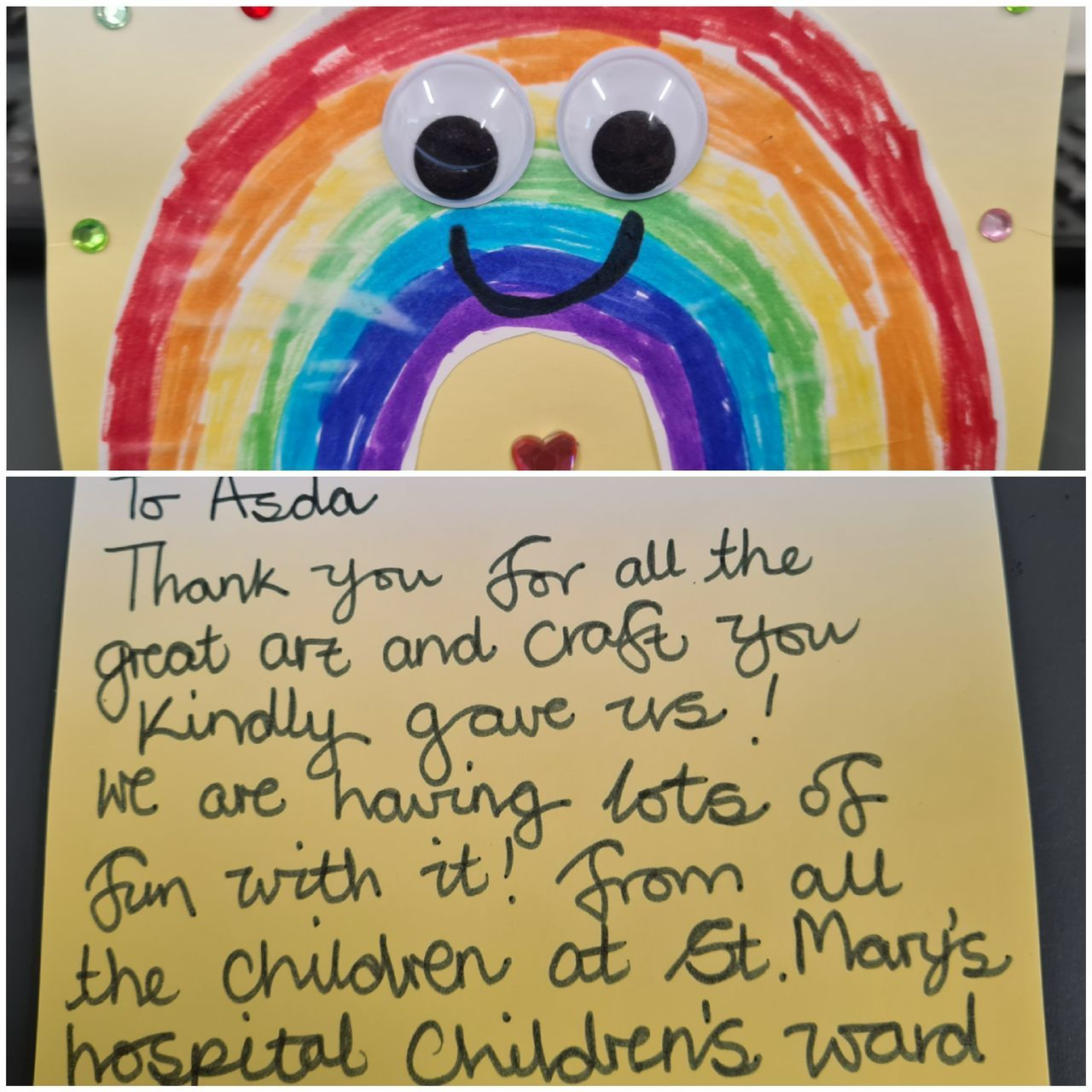 Rainbow thank you card from St Mary's Hospital Children's Ward | Asda Newport Isle of Wight