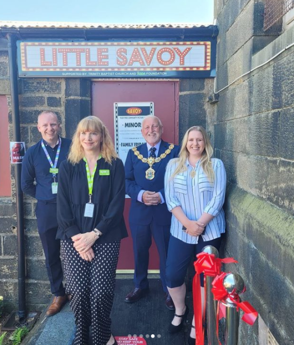 Diane Springthorpe from Asda Colne reopens the Little Savoy cinema