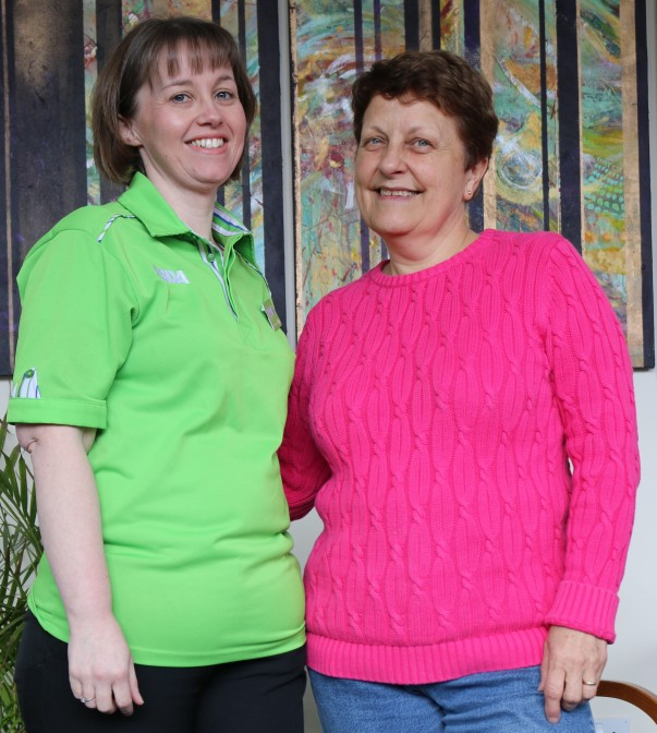 Asda Falmouth colleague Lisa Kirkpatrick with food bank volunteer Ruth Painter