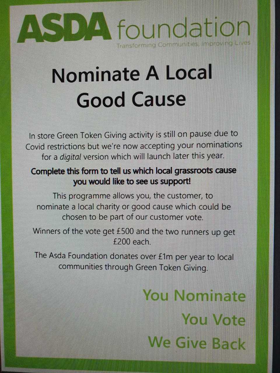 Digital Green Token Giving | Asda Sheffield Drakehouse