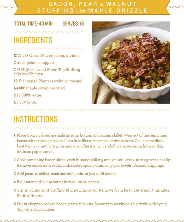 Bacon, Pear & Walnut Stuffing Recipe