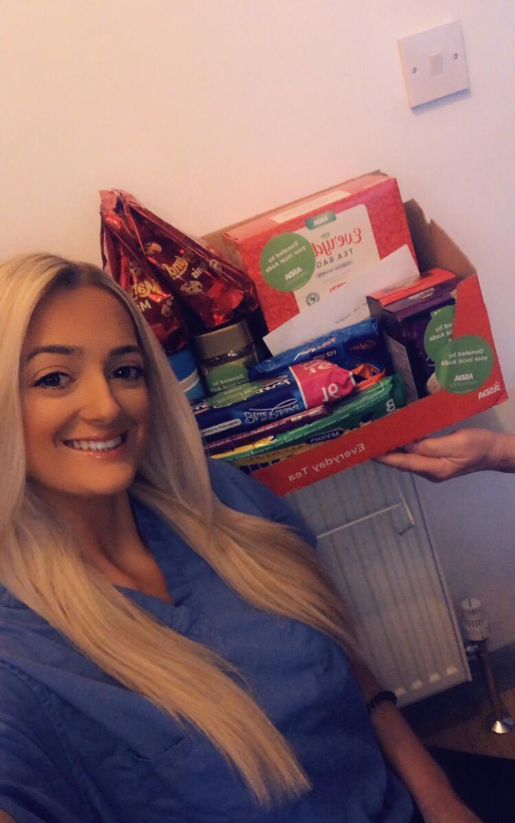 Kirby Davison staff nurse taking the donation.  | Asda Hessle