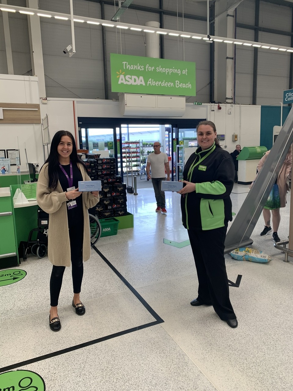 Donation of face masks | Asda Aberdeen Beach