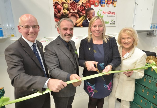 Asda chief customer officer Andy Murray with Lindsay Boswell and Simone Connolly from FareShare and charity patron Rosemary Conley