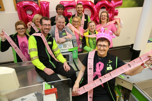 Tickled Pink till receipts with colleague Kim at Asda Carlisle