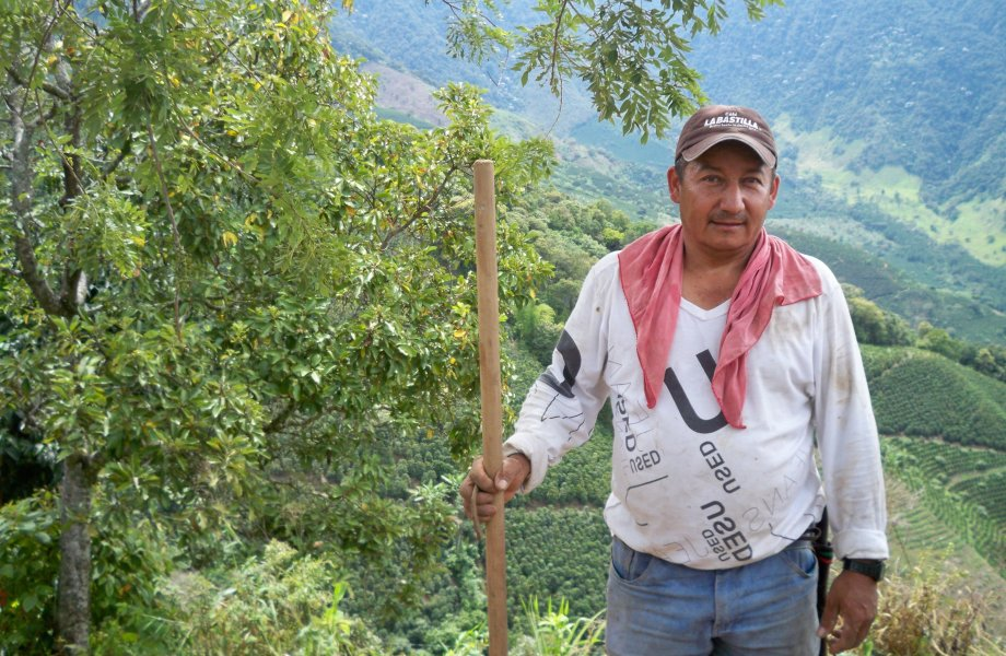 A Columbian coffee farmer stands in the mountains