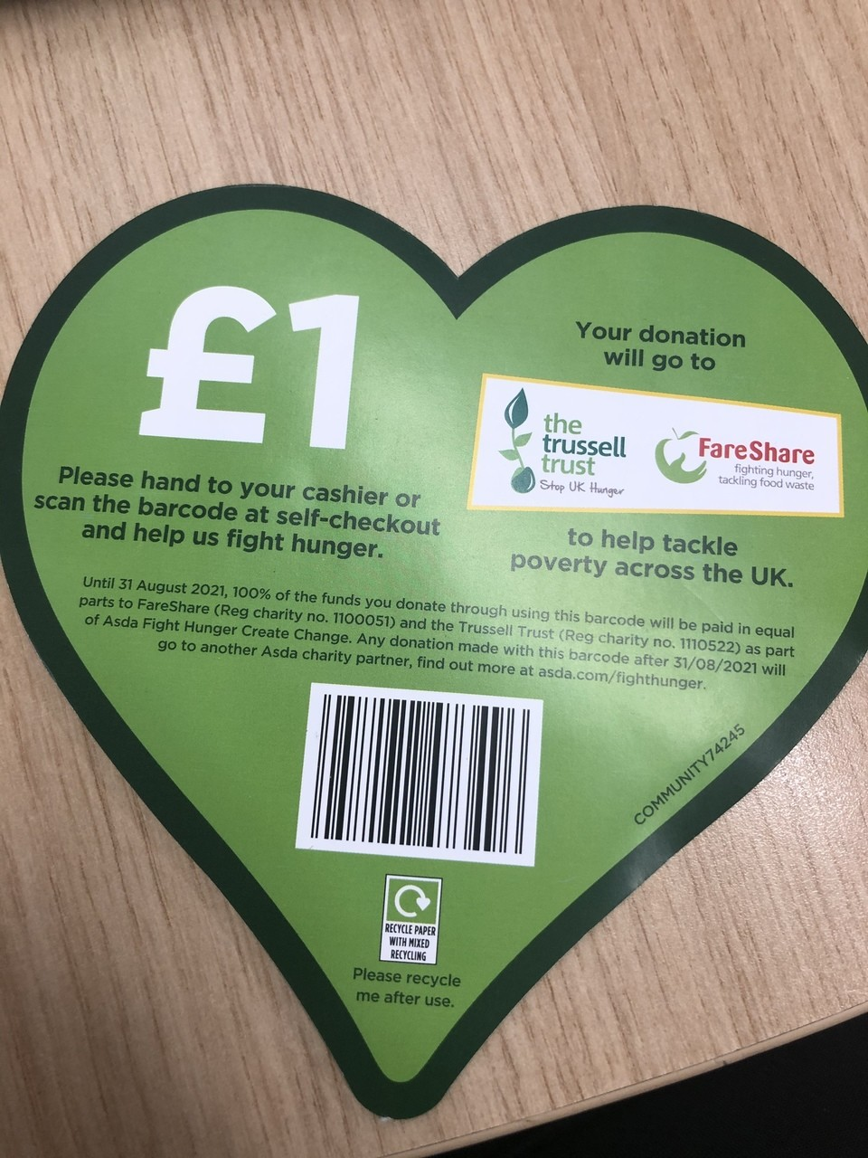 New way to donate £1 | Asda Portadown