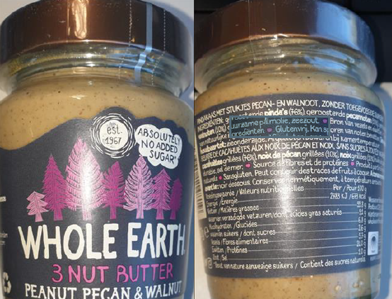 Whole Earth 3 Nut Butter product recall