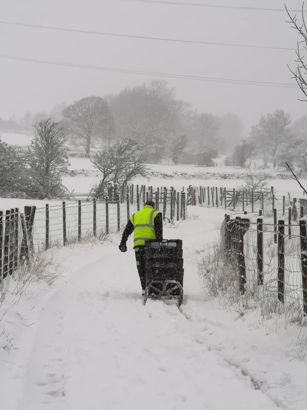 Paul Coates from Asda Keighley battled the snow to make a delivery