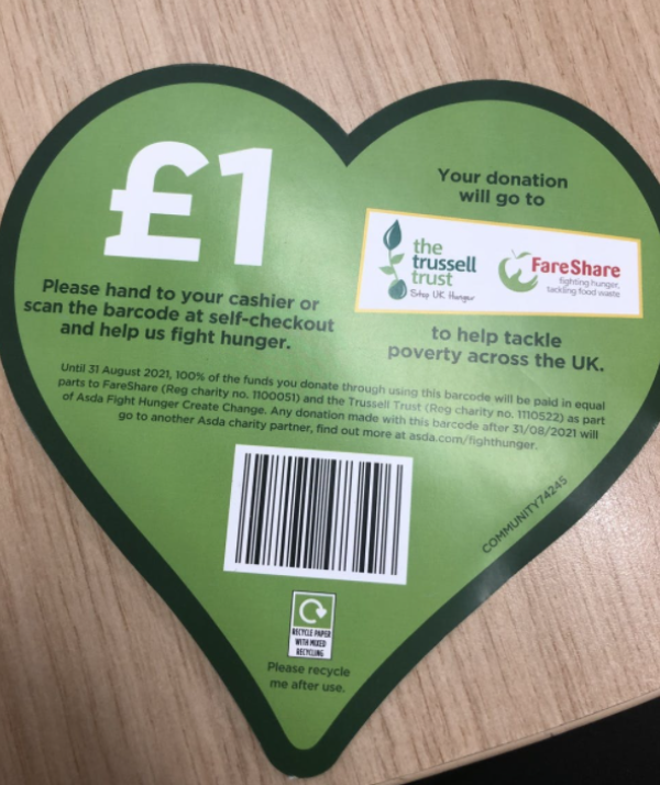 Pick up a green heart voucher at Asda to donate £1 to The Trussell Trust and FareShare