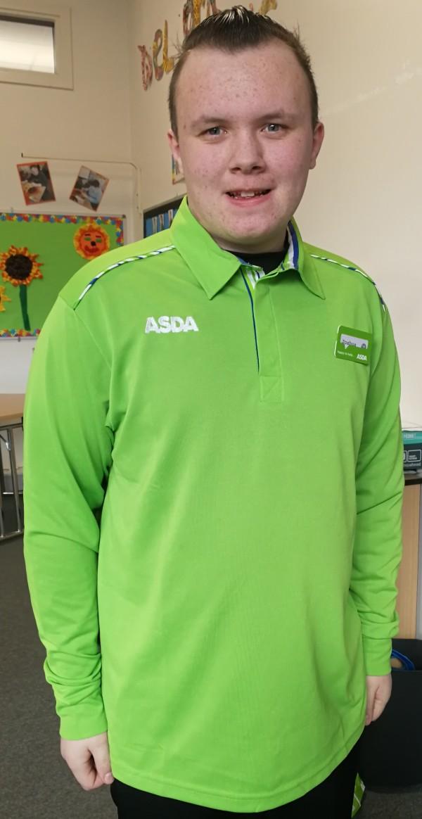 Tor Bank School pupil Josh Halliday on placement at Asda Dundonald