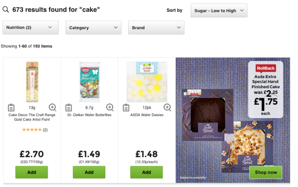 Asda's groceries website has nutritional filters for people with allergies and dietary requirements