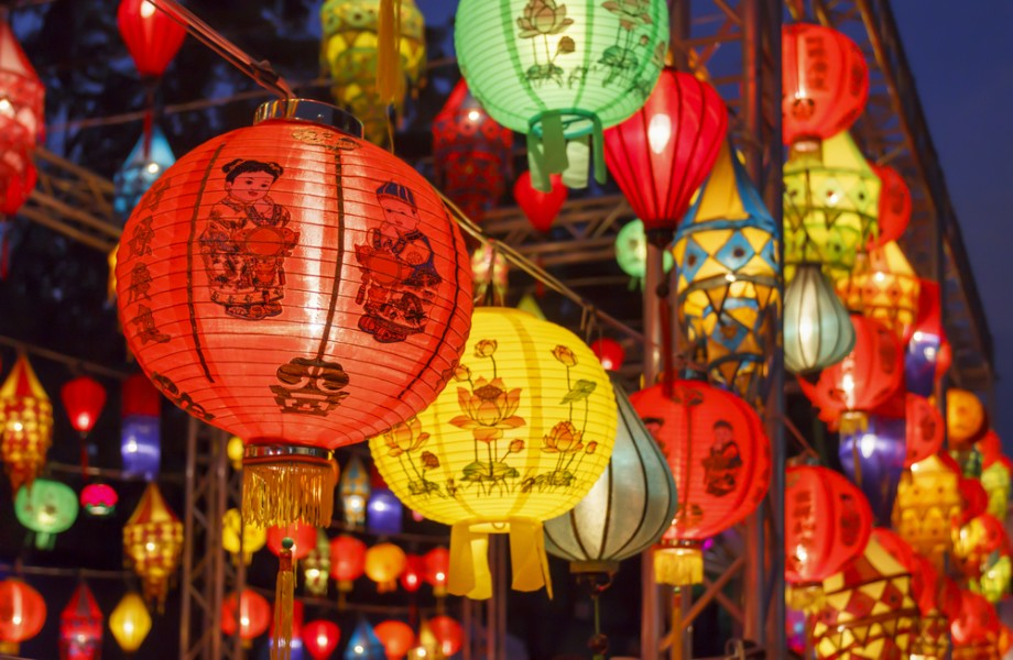 Chinese New Year lanterns line a street