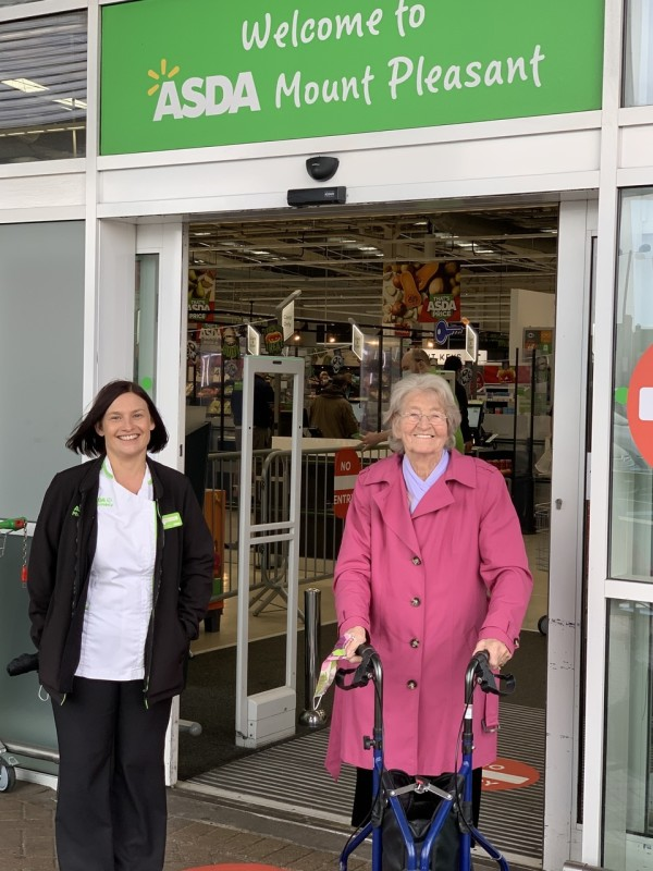 Denise Ledger from Asda Hull Mount Pleasant and customer Vera Tether