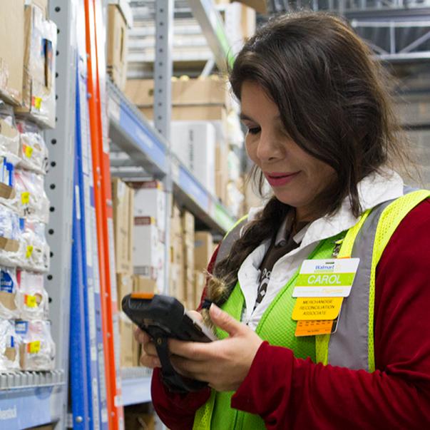 An associate uses the Availability app on a mobile device