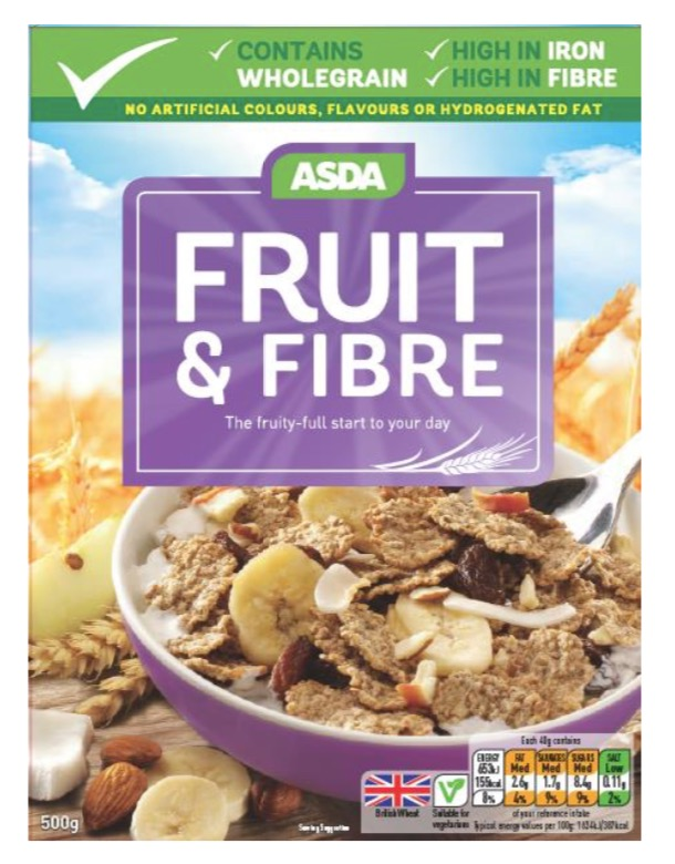 Asda Fruit & Fibre Cereal 500g recall