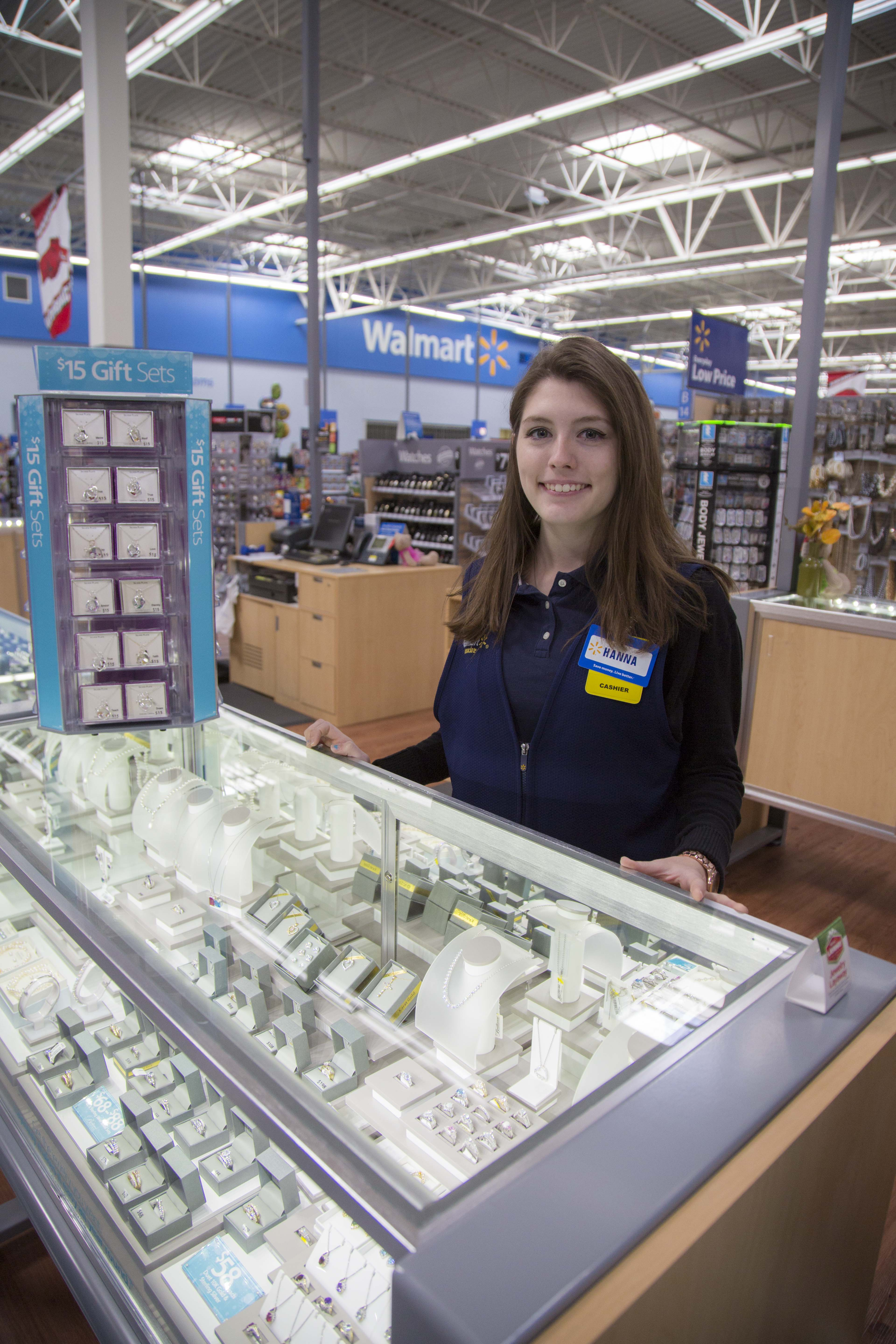 walmart associate hanna stands at our jewelry display